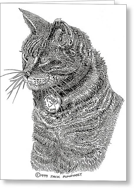 Drawings Of Cats Greeting Cards - HARRY Rest In Peace Greeting Card by Jack Pumphrey