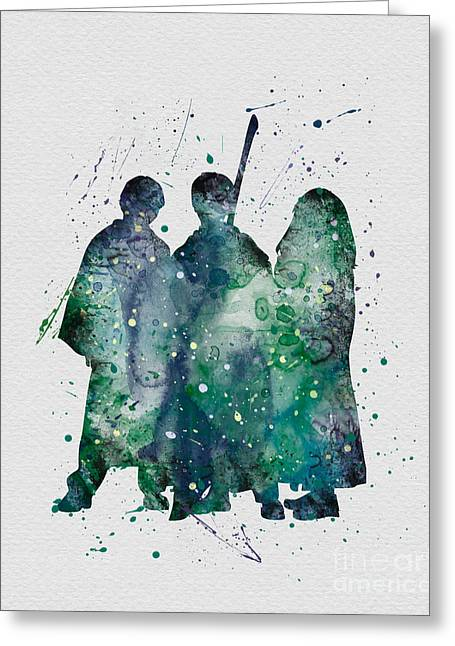 Hermione Granger Greeting Cards - Harry Ronald and Hermione Watercolor  Greeting Card by Vivid Editions