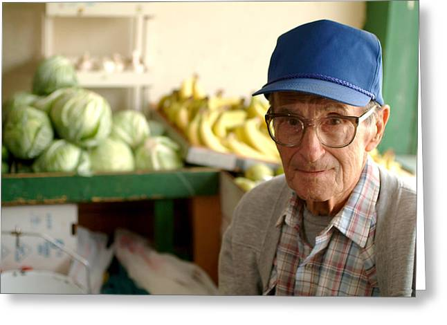Strawberry Hill Greeting Cards - Harry the Produce Man Greeting Card by Don Wolf