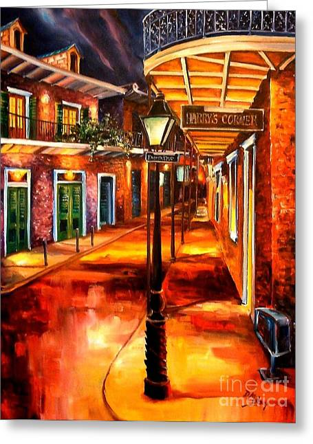 Night Lamp Greeting Cards - Harrys Corner New Orleans Greeting Card by Diane Millsap