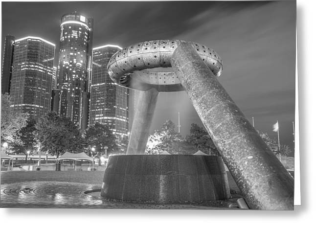 Renaissance Center Greeting Cards - Hart Plaza in Black and White Greeting Card by Pravin  Sitaraman