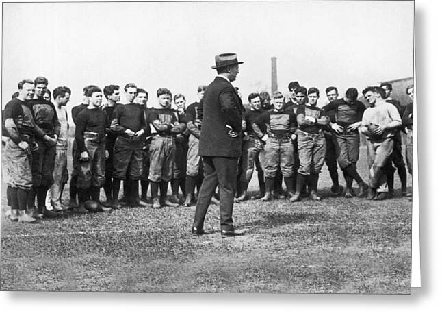 Team Mates Greeting Cards - Harvard Football Practice Greeting Card by Underwood Archives