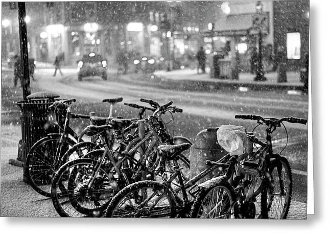 Harvard Square Cambridge Ma Snowy Bicycles Black And White Greeting Card by Toby McGuire