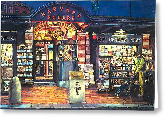 Tickets Boston Greeting Cards - Harvard Square  Out of Town News  Greeting Card by Sean Moore