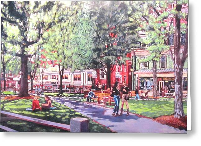 Harvard Square  Winthrop Park Greeting Card by Sean Moore