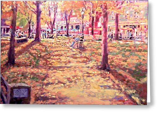 Harvard Square Winthrop Park Seasons Fall Greeting Card by Sean Moore