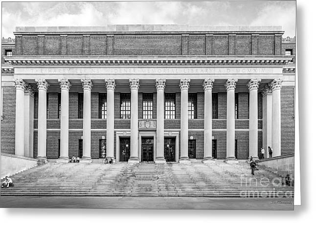 Library Greeting Cards - Harvard University Widener Library Greeting Card by University Icons