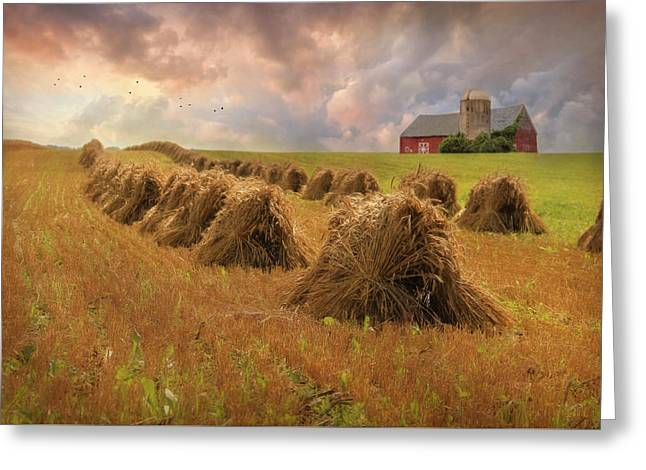 Amish Farms Mixed Media Greeting Cards - Harvest Blessings Greeting Card by Lori Deiter