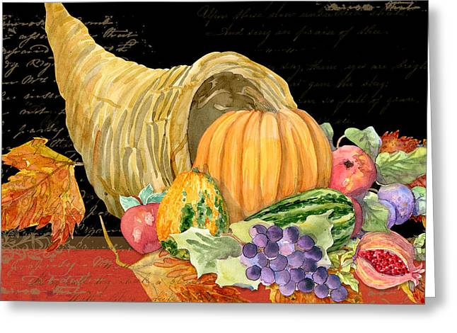 Grape Leaves Mixed Media Greeting Cards - Harvest Cornucopia of Blessings - Pumpkin Pomegranate Grapes Apples Greeting Card by Audrey Jeanne Roberts