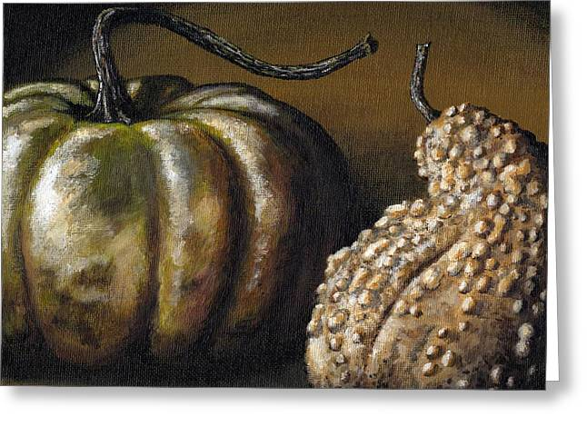 Interior Still Life Paintings Greeting Cards - Harvest Gourds Greeting Card by Adam Zebediah Joseph