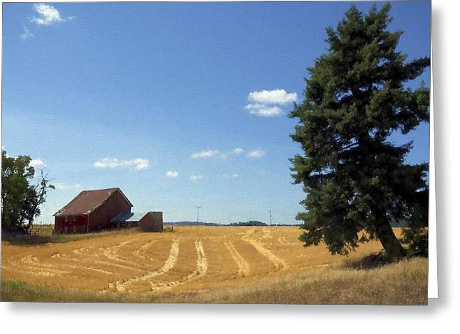Outbuildings Greeting Cards - Harvest Idyll Painterly Greeting Card by Daniel Hagerman