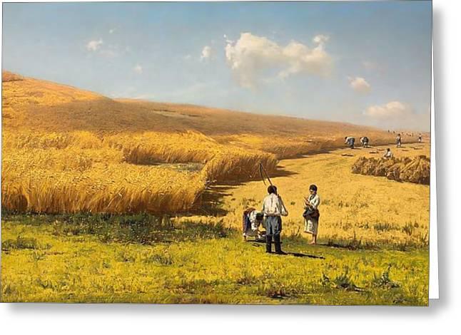 Harvest Art Greeting Cards - Harvest in the Ukraine Greeting Card by Volodymyr Donatovitch Orlovsky