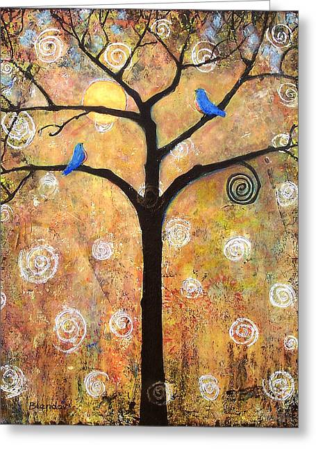Birds Moon Greeting Cards - Harvest Moon Greeting Card by Blenda Studio
