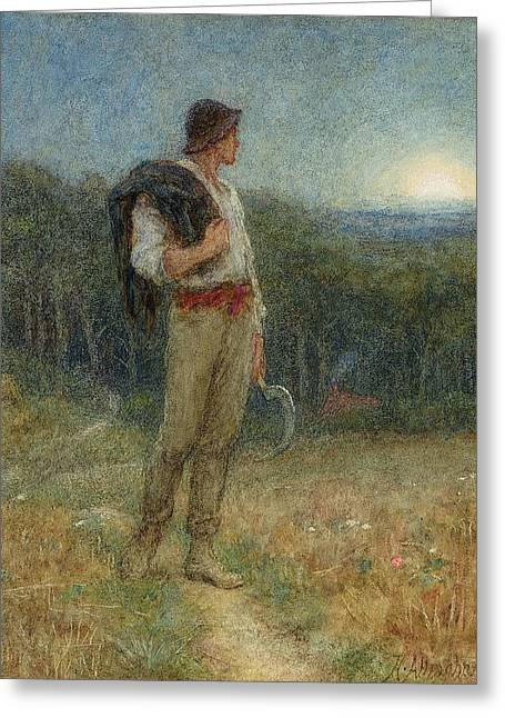 """hard Work"" Greeting Cards - Harvest Moon Greeting Card by Helen Allingham"
