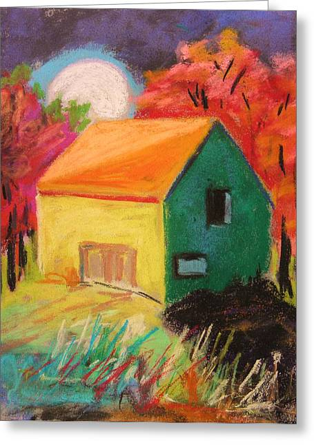 Red Roofed Barn Drawings Greeting Cards - Harvest Moon Greeting Card by John  Williams