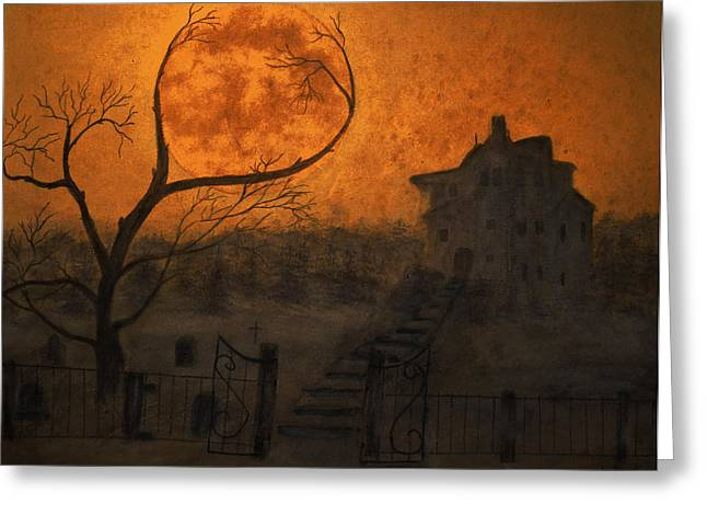 Thriller Paintings Greeting Cards - Harvest Moon Greeting Card by Ken Figurski