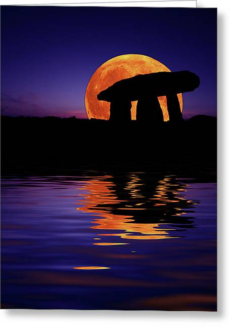 Ancient Tomb Greeting Cards - Harvest Moon Greeting Card by Mark Stokes