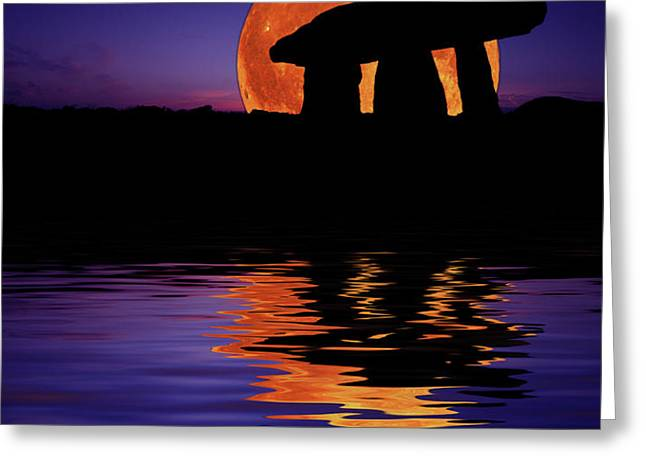 Harvest Moon Greeting Card by Mark Stokes
