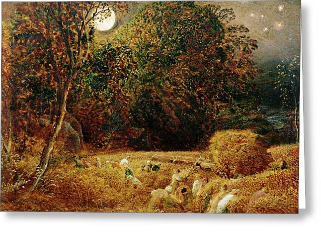 Samuel (1805-81) Greeting Cards - Harvest Moon Greeting Card by Samuel Palmer