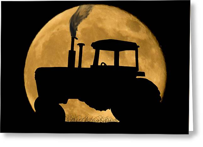 Cropped Mixed Media Greeting Cards - Harvest Moon Greeting Card by Shane Bechler