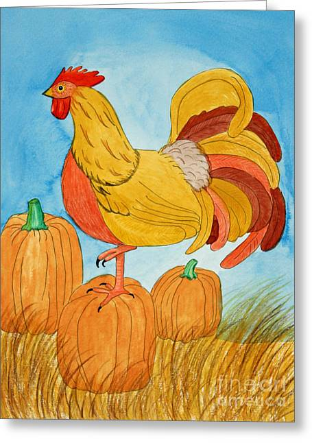 Harvest Rooster Greeting Card by Norma Appleton