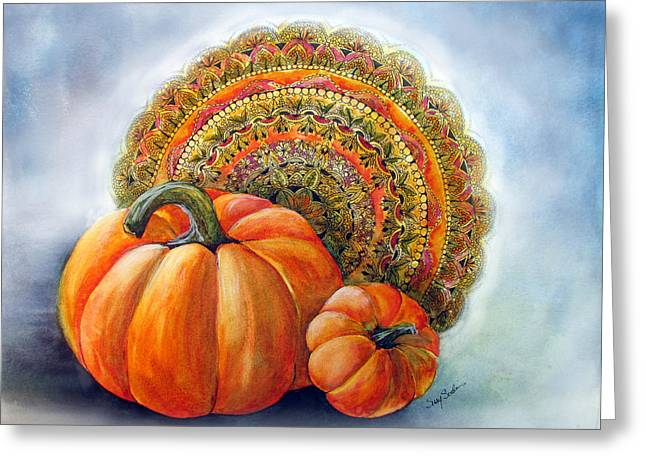 Autumn Mandala Greeting Cards - Harvest Greeting Card by Susy Soulies