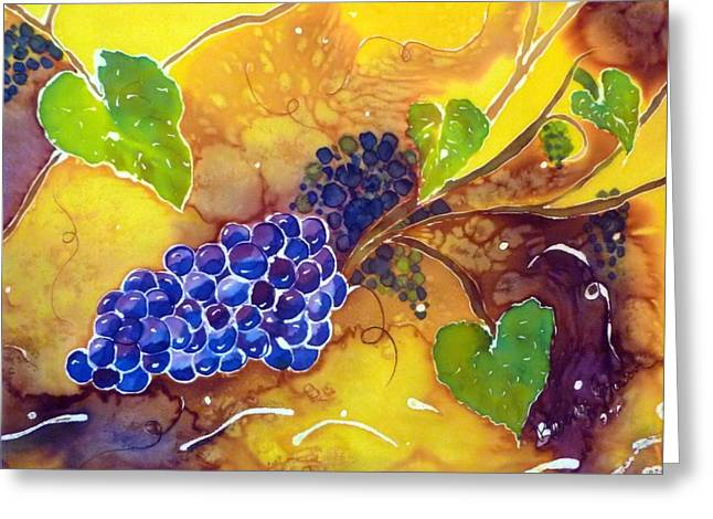 Wine Tapestries - Textiles Greeting Cards - Harvest the Vine Greeting Card by Beverly Johnson