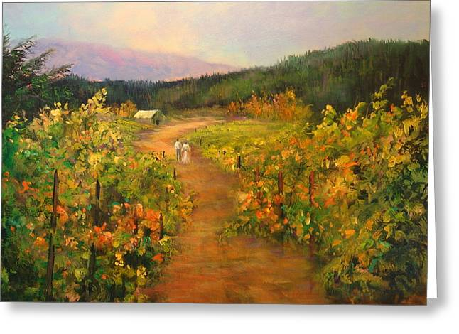 Pastoral Vineyards Paintings Greeting Cards - Harvest Walk Greeting Card by Sally Seago