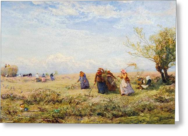 Harvesters Near Amberley Greeting Card by Robert Thorne