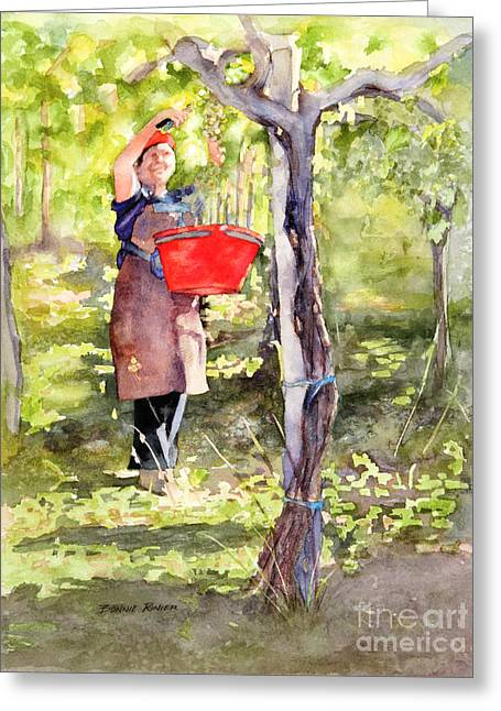 Harvesting Anna's Grapes Greeting Card by Bonnie Rinier