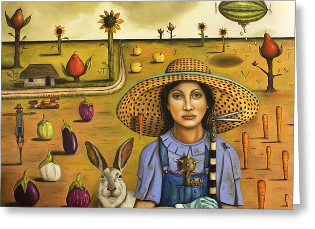 Harvey And The Eccentric Farmer Greeting Card by Leah Saulnier The Painting Maniac