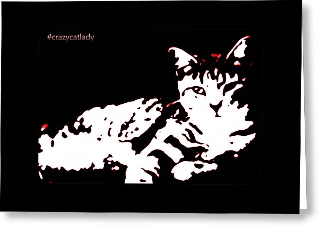 Kitten Prints Greeting Cards - Hashtag crazycatlady Design in red Greeting Card by Heather Joyce Morrill