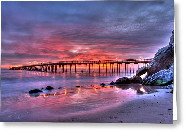 Haskells Pier Sunset Greeting Card by Brad Kazmerzak