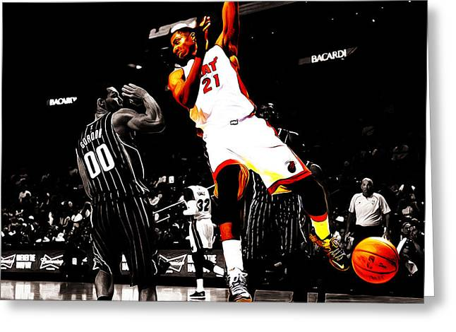 Hassan Whiteside Greeting Card by Brian Reaves