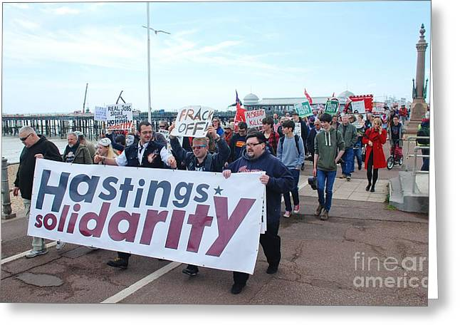 Anti Greeting Cards - Hastings austerity march Greeting Card by David Fowler