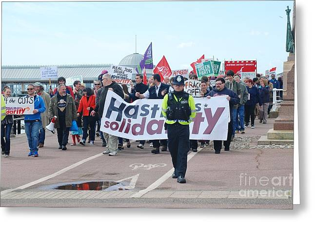 Anti Greeting Cards - Hastings march against austerity Greeting Card by David Fowler