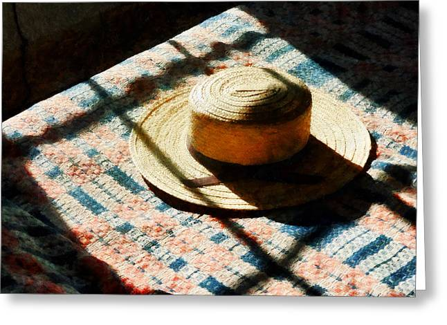 Hat Greeting Cards - Hat on Bed Greeting Card by Susan Savad