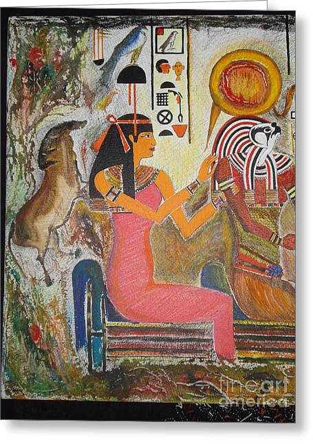 Prasenjit Dhar Mixed Media Greeting Cards - Hathor and Horus Greeting Card by Prasenjit Dhar