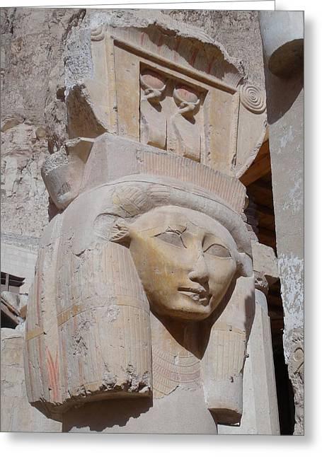 Hathor Greeting Cards - Hathor at Deir el Bahri Greeting Card by Richard Deurer