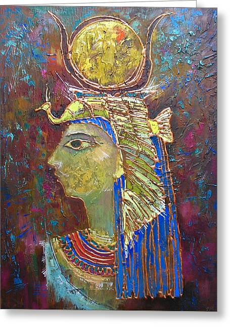 Hathor Greeting Cards - Hathor. Goddess of Egypt Greeting Card by Valentina Kondrashova