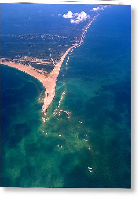 Rodanthe Greeting Cards - Hatteras Aerial Vertical Greeting Card by George Mitchell