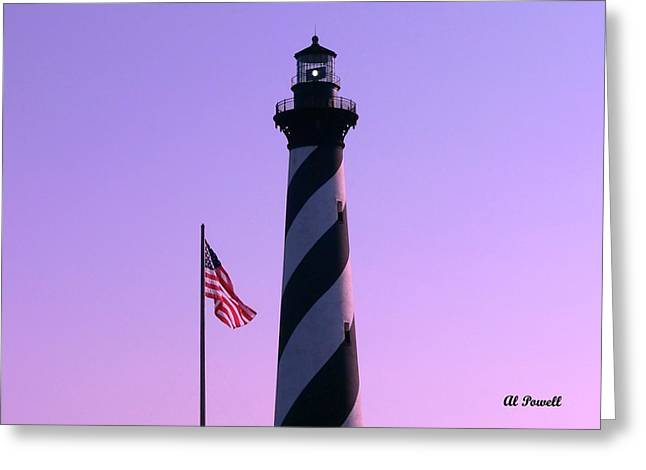 N.c. Greeting Cards - Hatteras Light and Flag Greeting Card by Al Powell Photography USA