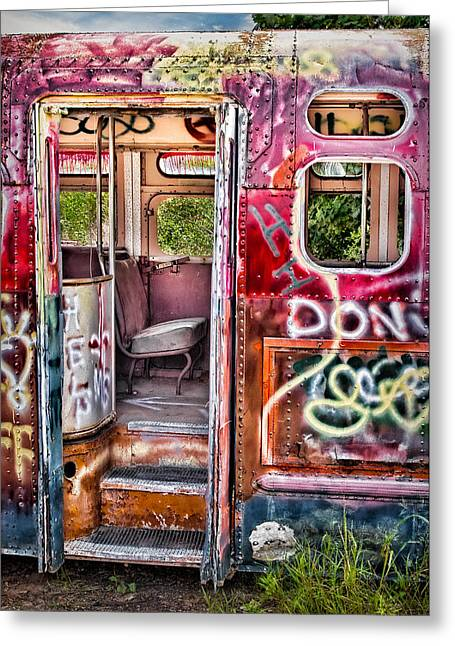 Haunted Graffiti Art Bus Greeting Card by Susan Candelario