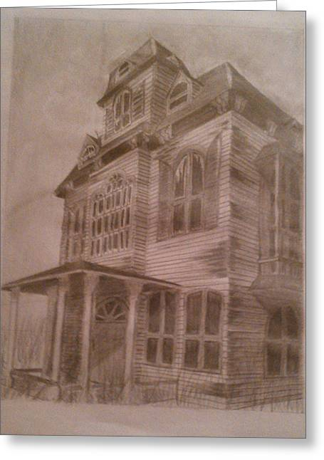 Abandoned Houses Drawings Greeting Cards - Haunted House 1 Greeting Card by Sonya Ball