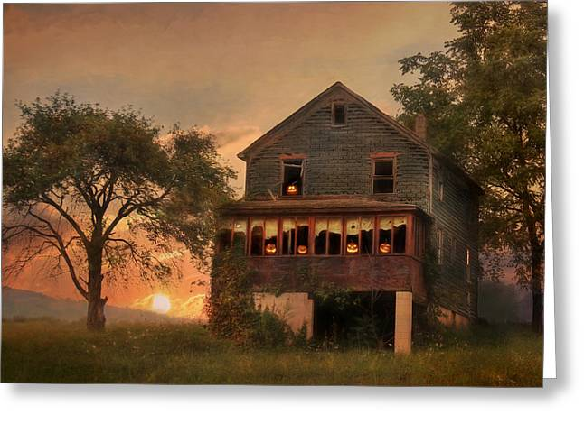 """haunted House"" Mixed Media Greeting Cards - Haunted House Greeting Card by Lori Deiter"