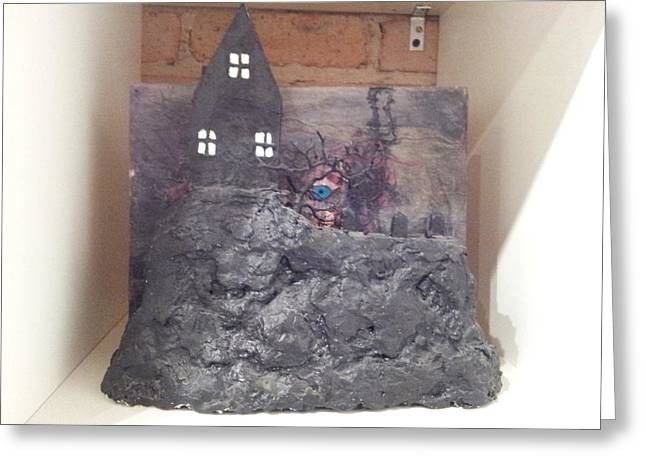 """""""haunted House"""" Reliefs Greeting Cards - Haunted House Greeting Card by William Douglas"""