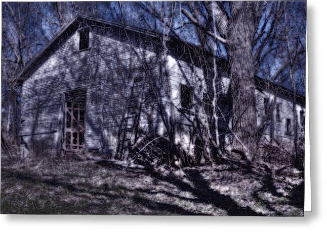 Haunted Barn Greeting Cards - Haunted Kansas Barn Greeting Card by Don Wolf