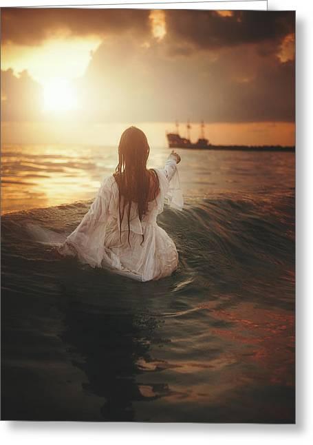 Drysdale Greeting Cards - Haunted Ocean  Greeting Card by TJ Drysdale