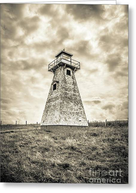 Haunted Old Lighthouse Infrared Greeting Card by Edward Fielding