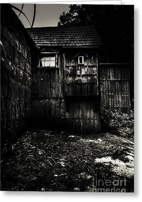 Haunted Outback Cabin In Dark Night Woods Greeting Card by Jorgo Photography - Wall Art Gallery
